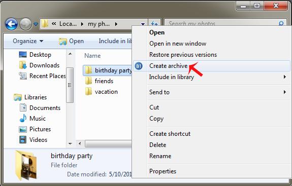 create zip files