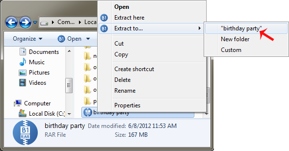 How to open rar file and unrar files from the archive in one